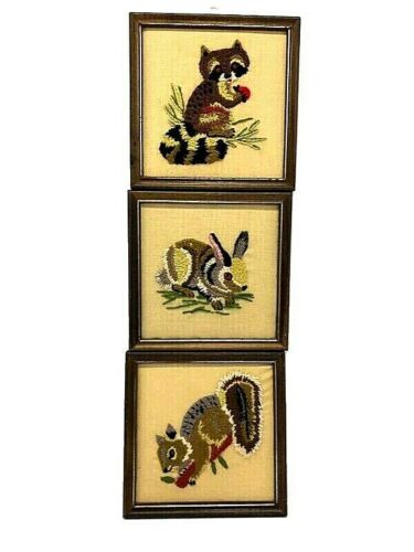 Vintage Raccoon Rabbit  Squirrel Embroidered Embroidery Animals Crewel Framed