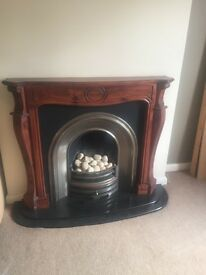 Gas fire , hearth , surround & mantle.