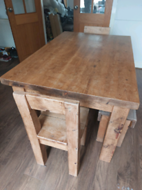 Solid Oak Furniture Land Dining table, 2 benches and 2 chairs