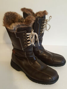"SAULT MOUTON ""COLOMBE"" Fur & Leather Winter Boots 41 M8.5 W10"