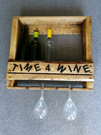 Wine and glasses wall rack