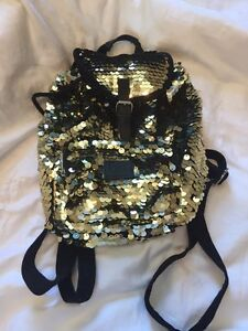 Pink gold sequin backpack