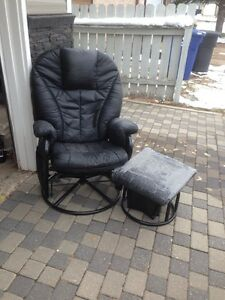 Swivel rocking chair and footstool