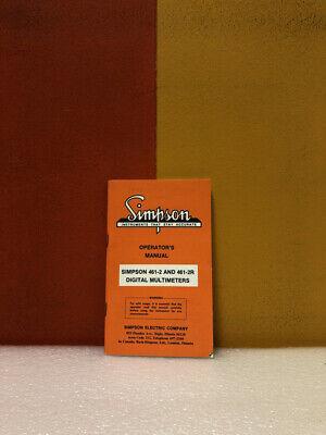 Simpson 461-2 461-2r Digital Multimeters Operators Manual