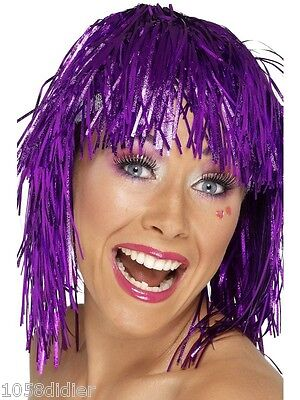 Perücke Metall lila Disko Kostüm Erwachsene Herren Frau - Perücken Billig