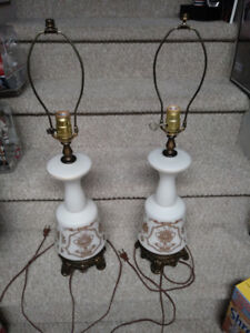 2 - Vintage 1950s White Glass Table Lamps