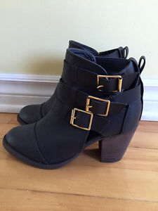 Cut Out Buckled Booties