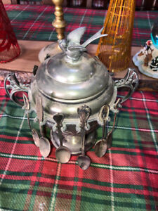 Antique sugar bowl ( Victorian Style) silver plated with spoon