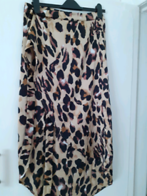 Leopard print satin wrap skirt