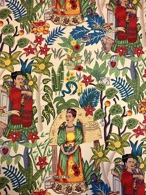 AH202  Frida Kahlo Frida's Garden Mexico Folk Art Jungle Cotton Quilt (Fabric Art Quilt)
