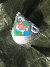 Box of 187 emergency rain poncho's in golf ball holders