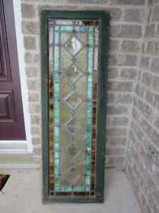 OLD STAIN GLASS TRANSOM WINDOW