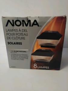 8 Lampes à Del solaires Noma pour poteau de clôture et plus