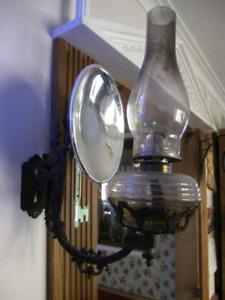 VINTAGE CAST IRON BRACKET OIL LAMPS W/MERCURY GLASS REFLECTORS
