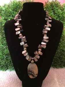 Ladies black, grey stone iridescent bead necklace