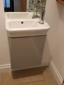 Grey cloakroom vanity unit and basin