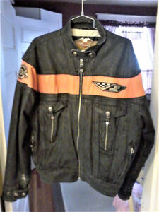 Harley Davidson Denim Jacket Orange and Black RARE