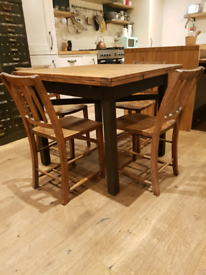 Vintage oak extending draw leaf table & 4 chapel church chairs for sale  Eastleigh, Hampshire