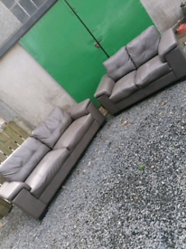 3+2 grey leather sofas. Delivery available