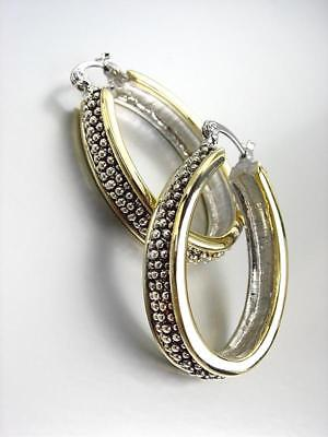 NEW CLASSIC Designer Style Balinese Silver Caviar Dots Gold Oval Hoop -