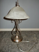 2 Silver Table lamps with glass tops