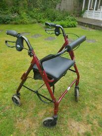 Lightweight Folding Aluminimum 4 Four Wheeled Rollator Walker Mobility Aid