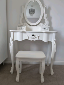 Shabby chic style white bedside table and dressing table