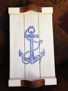 NAUTICAL WOOD SERVING TRAY BRAND NEW