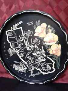Black metal Vintage round California Tray  Windsor Region Ontario image 2