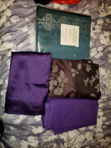 Pairs of curtains purple and teal