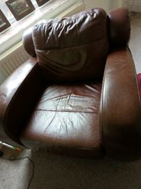 Very large Brown leather arm chair