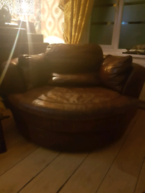Leather swivel cosy chair