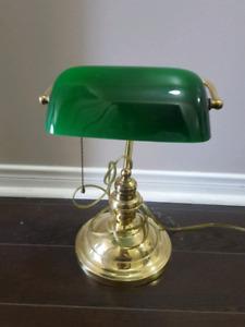 Bankers desk lamp green/gold