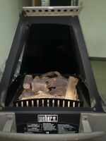 Weber propane fireplace outdoors