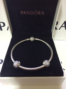 Authentic Pandora Bangle with Matching Clips