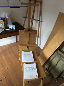 Martin Rolling Wooden Bench-Style Artist Easel / Chevalet assis