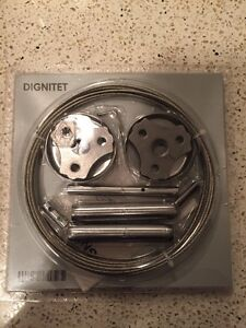 """Ikea DIGNITET Curtain Wire 197 \""""+ 24 Rings with Clips, New"""