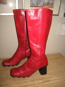"Pre owned red leather tall boots with 3.5"" heel zipper side"