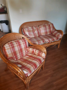 Antique bamboo armchair and Love Seat