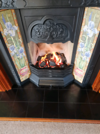 Beautiful mahogany and tiled Fire surround with gas fire.