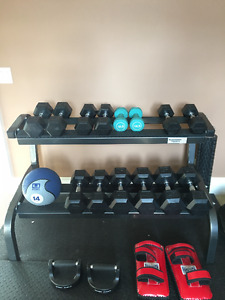 Used Elliptical, Treadmill, bench and free weights for sale