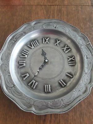 Vintage German Pewter Wall Clock