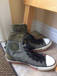 Army Green Converse High Tops - Size 9