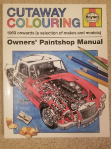 Cutaway colouring book of cars