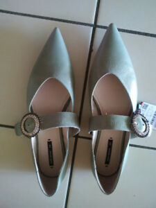 ZARA BASIC Brand New Shoes with Rhinestone Buckle Moving Sale!