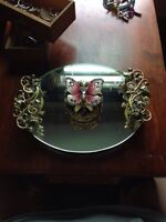 Butterfly necklace, stand and jewellery mirror