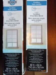 New Mainstays Cordless 60x64 inch blinds. $15 each