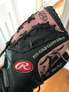 "Rawlings Fast Pitch 11"" Softball Glove PP11BP Black Pink Leather"