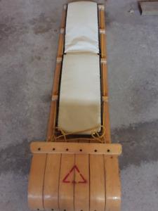 Wood Toboggan Sled with Pad 4 feet foot mattress