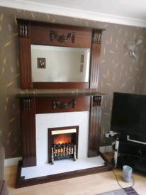 Fire place & surround mirror + electric fire.l
